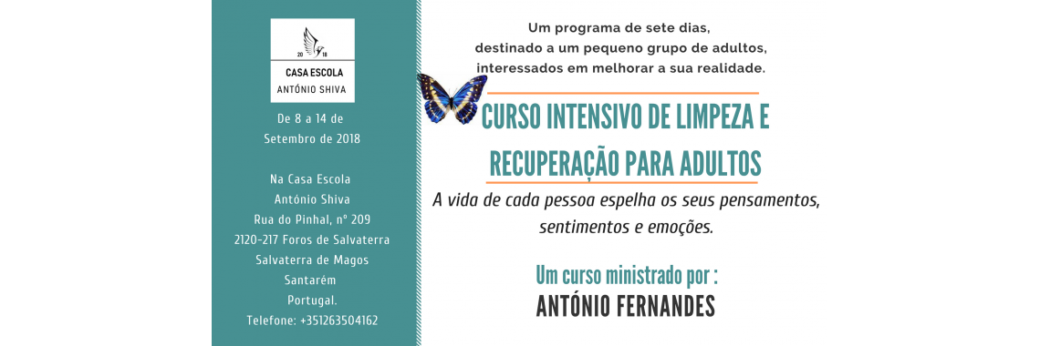 Curso intensivo de limpeza – 8 a 14 Setembro de 2018